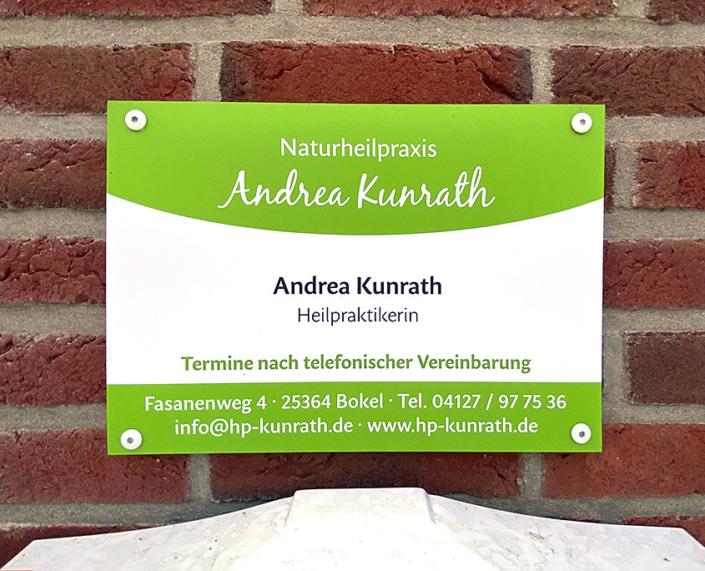Praxisschild der Naturheilpraxis Andrea Kunrath